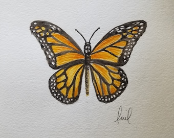 Original watercolor of a monarch butterfly