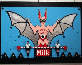 Wooden Wall 3D Art Assemblage - Painting with recycled items - Super Bat Milk