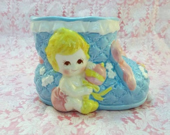 Vintage Ceramic Blue Bootie Baby Planter Blue Pink Giftwares Co Nancy Pew Japan 8176