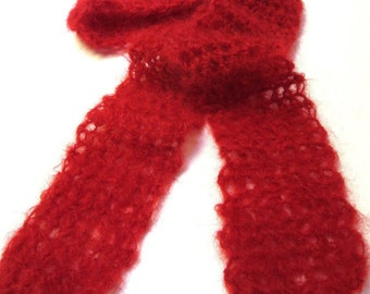 Red Mohair Scarf Wool 68x4 Woolen Wrap Mans Womans Birthday Gift Unique Crochet Thin Fluffy Spring Lightweight Faux Fur Neckscarf