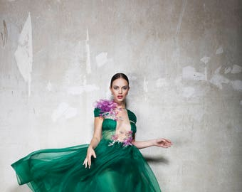 Silk organza dress with silk painted blouse decoration
