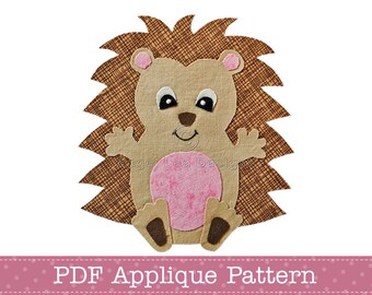 Hedgehog Applique Template PDF Baby Hedgehog Applique Pattern