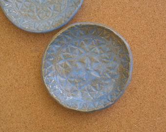 Arctic blue ceramic dish - Tapas dish - Blue trinket bowls with lace pattern -  handbuilt stoneware dish