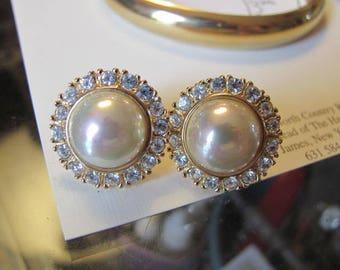 Vintage Pearl Earrings, Rhinestone and Pearl Pierced Earrings, Signed Roman, Bride Wedding