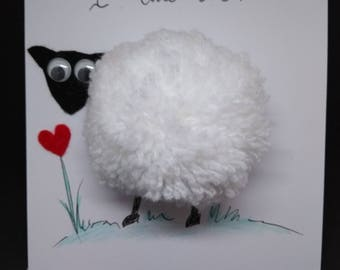 "Handmade pompom sheep valentines card ""I love ewe"""