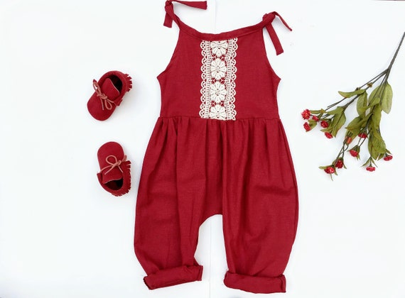 Baby Romper, Linen Baby Tie Romper, Summer Outfit, Burgundy Red, Gift for Girl, Toddler Girl Outfit, Jumpsuit, Boho Baby Clothes, Organic