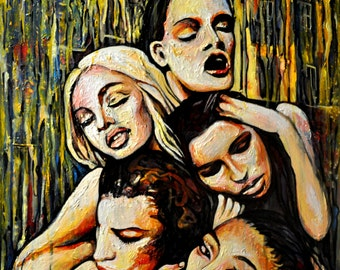 Erotic art, Nude painting, Fashion inspired, ORIGINAL acrylic painting, Babylon tower, Pop art, Contemporary painting, Alex Solodov