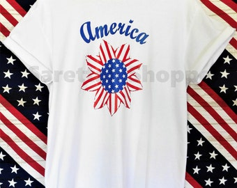 America White Cotton T-shirt/Graphic Tees/Red, White, and Blue/ Patriotic Shirt/Gift/4th of July/Merica/Birthday/Celebration/Stars & Stripes