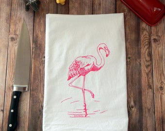Flamingo Tea Towel, Pink Flamingo Flour Sack Towel, Summer Tea Towel