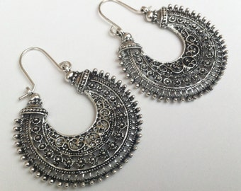 Tribal Statement Earrings , Silver Earrings , Large Hoop Earrings , Tribal Earrings , Boho Earrings , Large Earrings , Handmade Jewelry