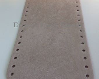 Bottom of bag made of eco leather, suede beige - oval 36 x 12 cm