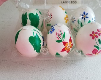 Vintage Six (6) Hand painted Eggs in Container