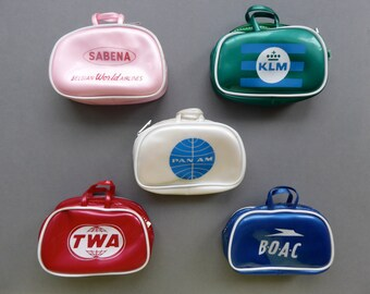 Vintage Airlines PLASTIC MINI SUITCASES for 7-11 in/ 17-27cm dolls such as Barbie, Blythe, Betsy, Ginny, Jill, Mini American Girl, Pepper