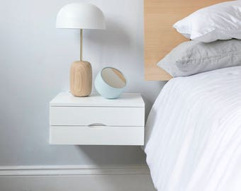 Floating bedside table in white with double drawers