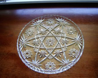 Prescut platter or cake plate Star of David retro chic glass serving collectible replacement 11 inch vintage platter