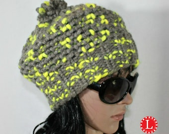 Loom Knit Patterns Slouchy Beanie Hat with Step by Step Video Tutorial Mock Crochet Stitch by Loomahat
