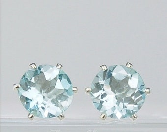 MothersDaySale Sky Blue Topaz Stud Earrings Sterling Silver 8mm Round 4.80ctw