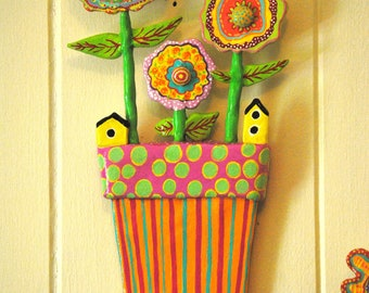 Whimsical Folk Art Flower Pot Wall Art Sculpture, Bird Houses and Bumblebee
