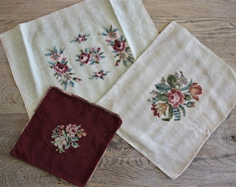 3 Vintage Needlepoint Flowers Pillow Top Covers
