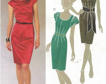 Womens Sheath Dress and Belt Neckline Variations OOP McCalls Sewing Pattern M5746 Size 4 6 8 10 12 Bust 29 1/2 to 34 UnCut