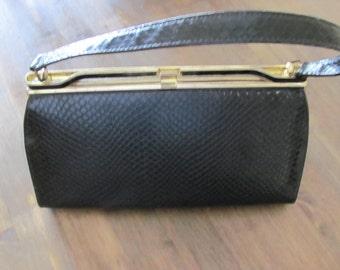 Vintage Black Faux Snake Skin NATURALIZER Handbag Number 29236