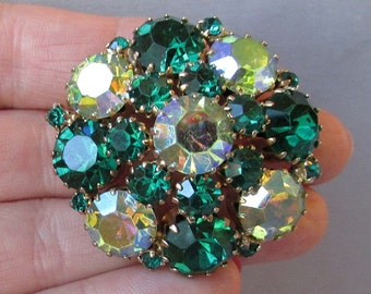 Chunky Green Aurora Borealis Rhinestone Vintage 1960's Domed Brooch, Unsigned Weiss