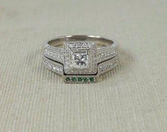 14K White Gold 1.65ctw Princess Diamond Halo & Emerald Accented Bridal Ring Set