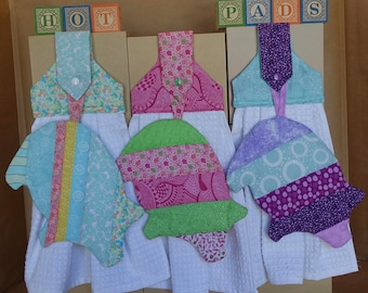 Quilted Pig Hot Pad w/Matching Hanging Towel (Sold as a Set)