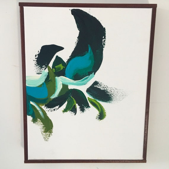 Botanical Series Blue Abstract - Original framed painting