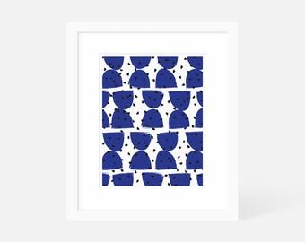 Mid Century Modern Art Large / Minimalist Modern Art Blue / Vertical Wall Art / Matted and Framed / 5x7 8x10 11x14 16x20 18x24