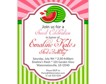 Watermelon Invitation - Pink Sunburst and Lime Green Stripes, Summer Watermelon Personalized Birthday Party Invite - Digital Printable File