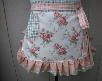 Womens Aprons - Aprons with Coral Roses - Shabby Chic Apron - Coral Rose Apron - Handmade Apron - Cottage Chic Aprons - Annies Attic Aprons