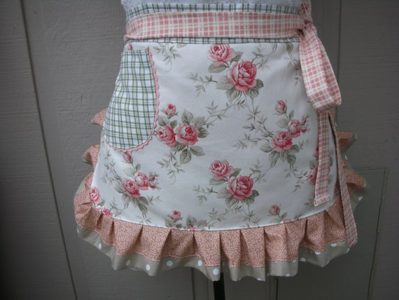 womens aprons aprons with coral roses shabby chic apron rh etsy com  shabby chic apron pattern