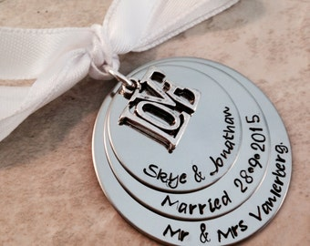 SALE Hand stamped ornament personalized wedding ornament our first christmas married husband and wife mr and mrs