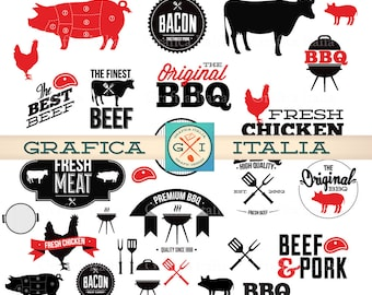 BBQ Barbeque Clipart Elements - Digital Barbecue Clip Art - Instant Digital Download PNG Transparent Background Collage Sheet Scrapbooking