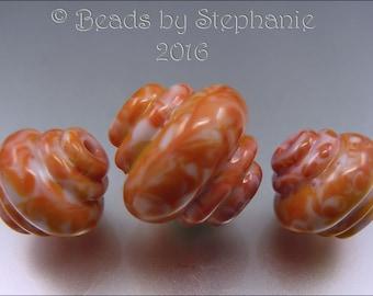 MARBLED SUNSET ORNATE  - Lampwork Ornate Focal Bead & Earring Pair - Handmade by Stephanie Gough Sra
