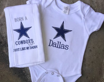 Dallas Baby Onesie + Burp Cloth