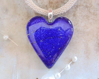 Purple Heart, Fused Glass Jewelry, Petite, Fused Dichroic Heart Pendant, Glass Jewelry, Necklace Included, A8