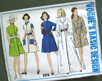 1970s Vintage Vogue Front Wrap Dress Pattern Vogue's Basic Design 2278 / Size 14
