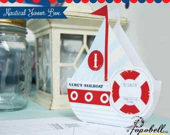 Nautical Favor Box Printable for Nautical Birthday Party. Personalize DIY Nautical Party Printables. Perfect for little sailor guests.