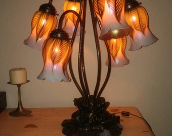 vintage Tiffany style 6-shade tulip lamp w/Lundberg Studio glass shades