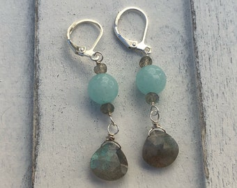 Teal chalcedony and labradorite and sterling silver.