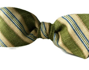 Green Stripe Bow Tie for Men or Boys  , Pre-tied Clip-On , Olive Green Beige , Christmas Stocking Stuffer Gift