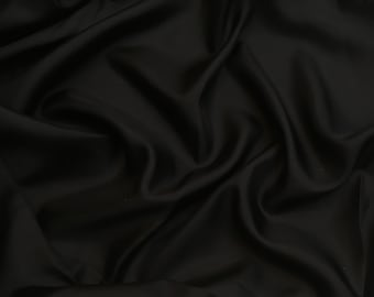 Black silk pongee Haute Couture - 150x135cm piece