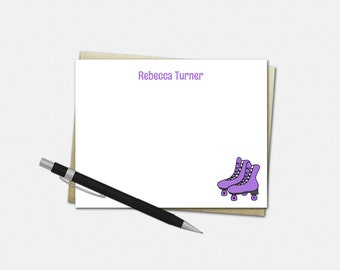 Personalized Note Card Set - Roller Skate Note Cards - Set of 10 Folded Note Cards - Stationery Gifts for Girls - Custom Note Cards
