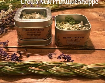 Smudging blend pure herbal loose incense mixture - cleanse & smudge  new home or space with sage cedar lavender and sweet grass~ Choose size