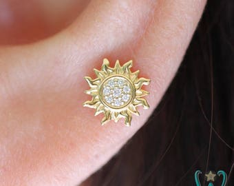 14K Tiny Diamond Sun - Stud Earring - Flat Back Earring - Cartilage Earring