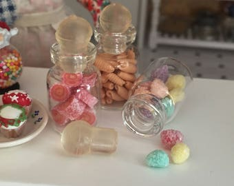Miniature Jar Filled with Frosted Bon Bons, Dollhouse Miniature, 1:12 Scale, Mini Food, Dollhouse Food, Accessory, Decor, Crafts