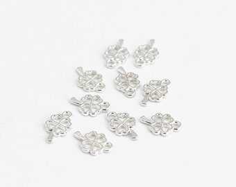 Silver Four Leaf Clover Charms - 10 Pieces