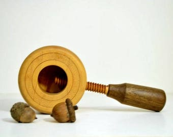 Midcentury Modern Nutcracker Screw Single Individual Hand Held Wooden Nut Cracker